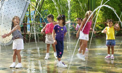 Girls Play in the Water at Princess Dot Puddle Park
