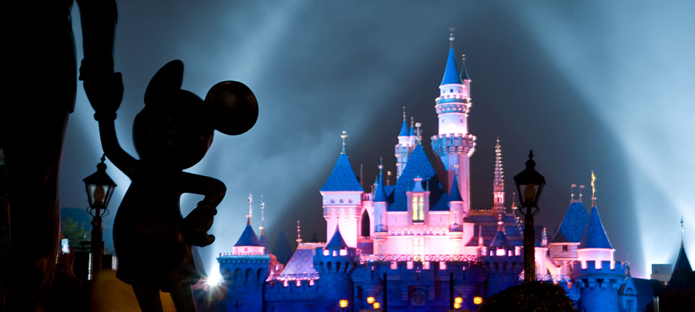 Sleeping Beauty Castle at Night with Spotlights