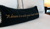 Throw pillow stitched with this saying,
