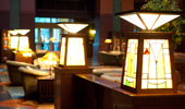 Close up on stained glass table lamps inspired by architect, Frank Lloyd Wright.