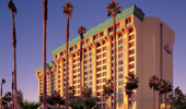Exterior shot with palm trees and Disney's Paradise Pier Hotel, complete with wave design